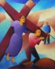 5.Simon of Cyrene helps to carry the cross - 50cm x 40cm - oil on canvas